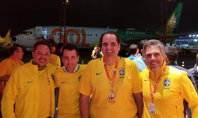 German Carmona, gerente de Marketing, Mauricio Parise, diretor de Marketing, Eduardo Bernardes, VP de Vendas e Marketing, e Paulo Kakinoff, presidente da Gol
