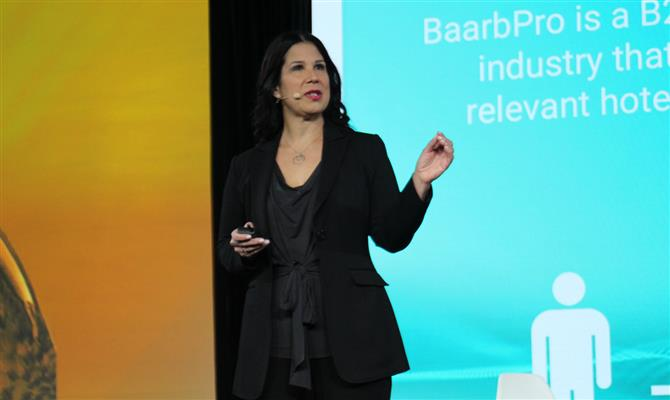 Barbara Parshall, co-fundadora e CEO do Baarb, apresentou o modelo de negócio da empresa durante o Phocuswright Conference 2018
