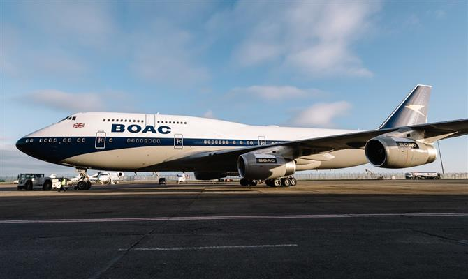 Boeing 747 da British Airways com a pintura da BOAC
