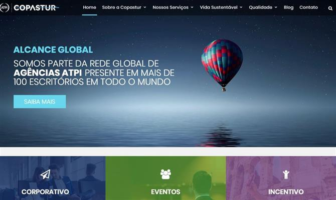 Novo layout do site da Copastur