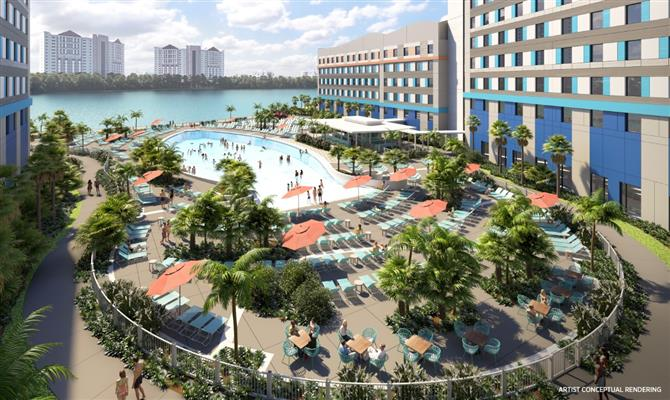 Projeção de como ficará área da piscina do Surfside Inn and Suites, no Univeral Orlando Resort