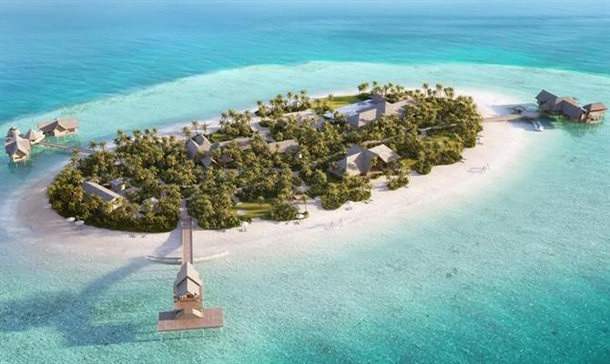 A ilha privativa Ithaafushi, com vilas do Waldorf Astoria Resort Maldivas