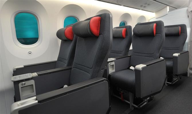 A premium economy do Dreamliner da Air Canada